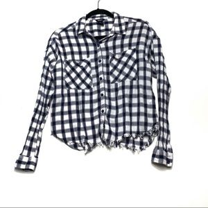 Forever 21 L Plaid Cropped Button Down With frayed